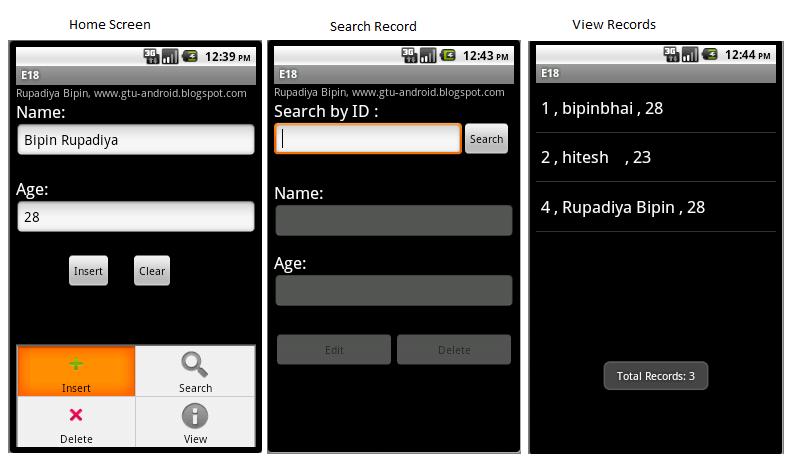 Mr  Bipin S  Rupadiya: SQLite Android Tutorial