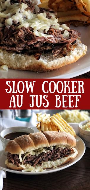 Slow Cooker Au Jus Beef Sandwich