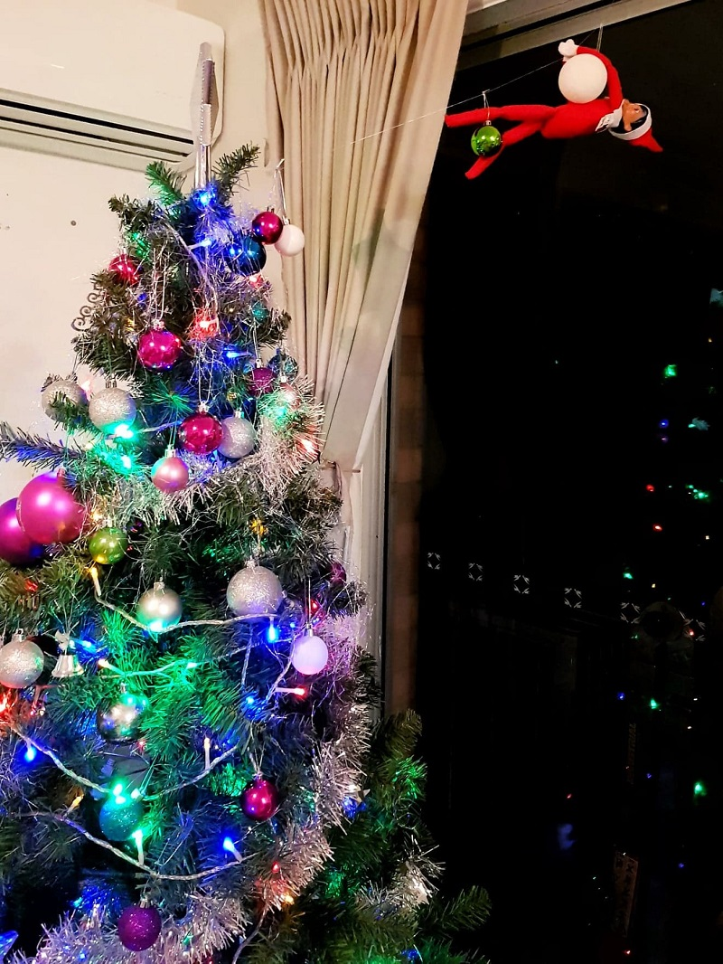 elf on the shelf zip line to christmas tree