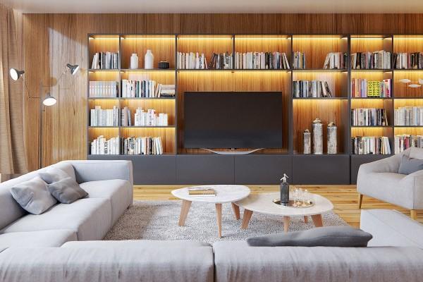 деревянные панели на стенах зала