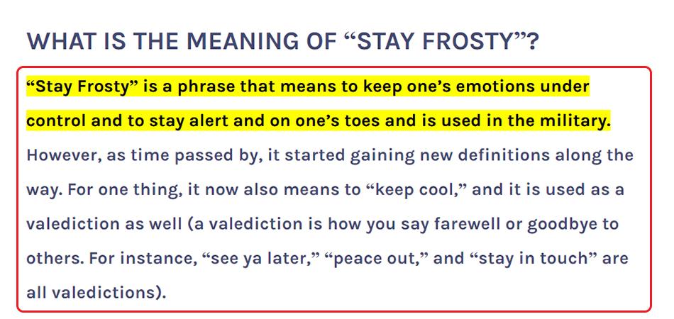 Penjelasan Stay Frosty