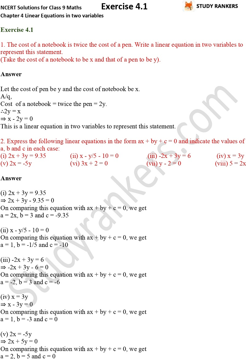 NCERT Solutions for Class 9 Maths Chapter 4 Linear Equations in Two Variables Exercise 4.1 Part 1