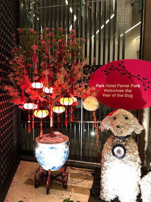 Source: Bloem. A focal flower arrangement for the Year of the Dog at Park Hotel, Farrer Park.