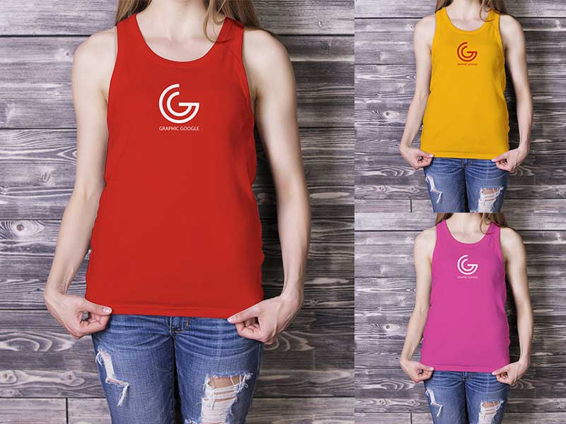 Girl Tank Top Mockup PSD