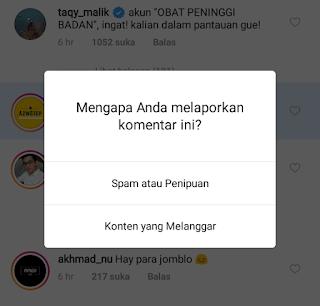 melaporkan komentar instagram