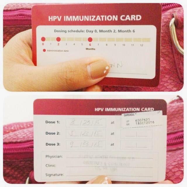 HPV Immunization Card