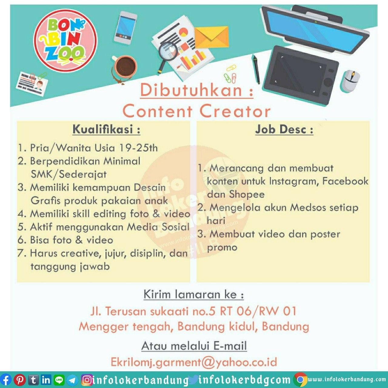 Lowongan Kerja Content Creator CV. Ekrilo Garment Bandung Juni 2020