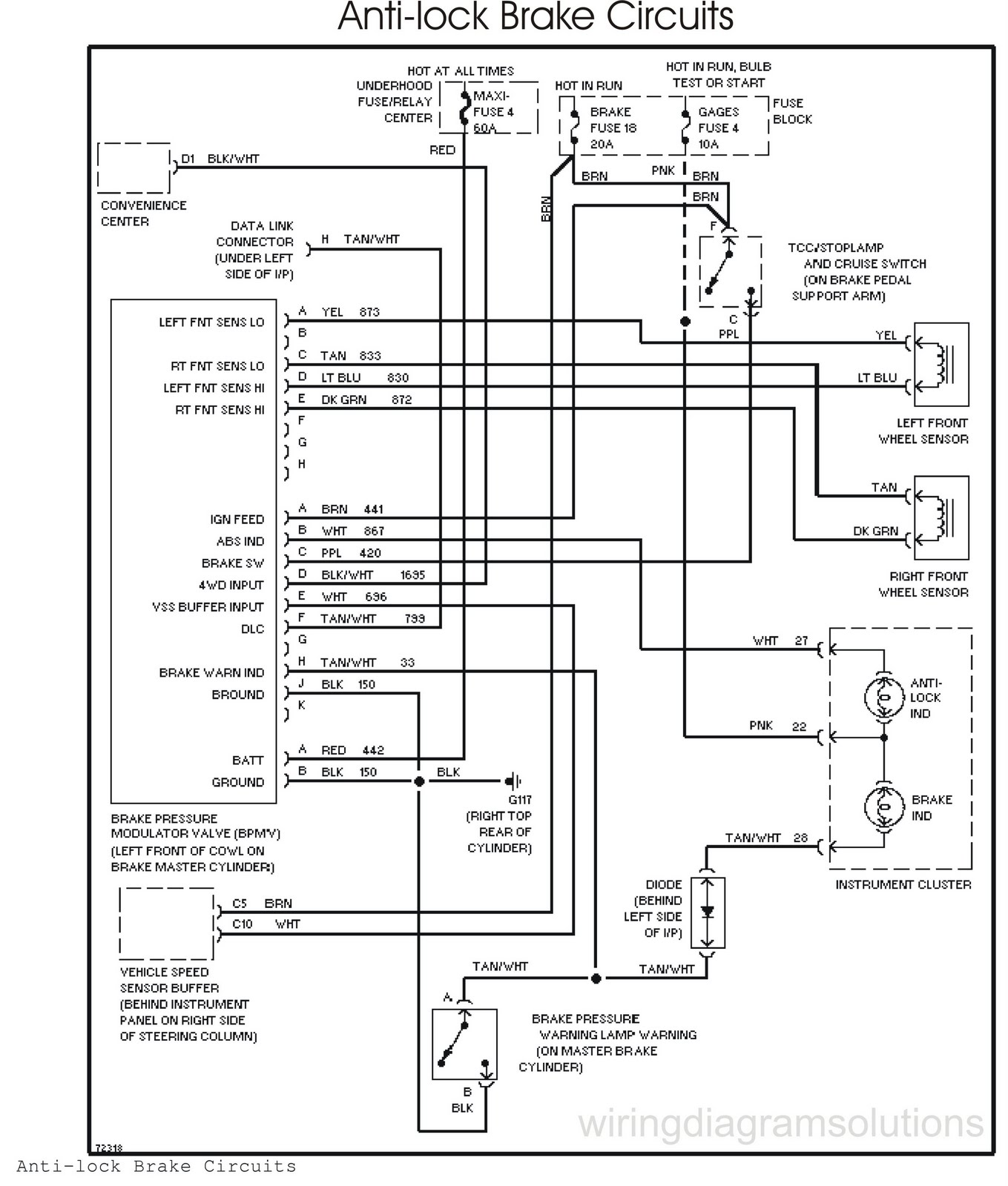 the 1995 chevrolet tahoe wiring schematic anti lock brake