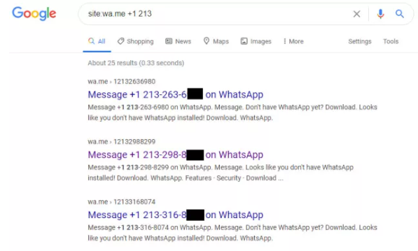 WhatsApp can reveal your phone number in Google searches