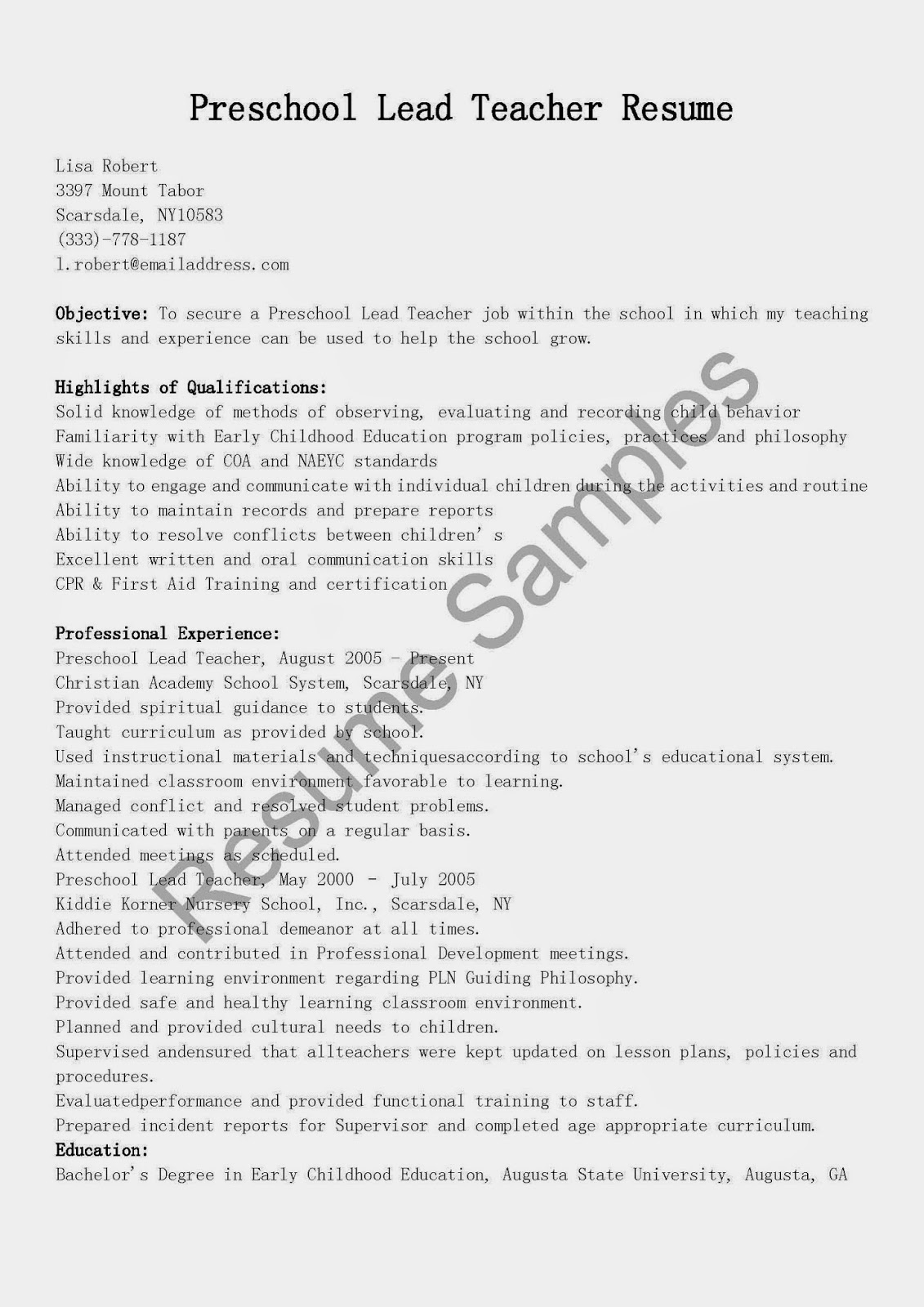 Lead Teacher Job Description Resume Resume Samples Preschool Lead Teacher Resume Sample