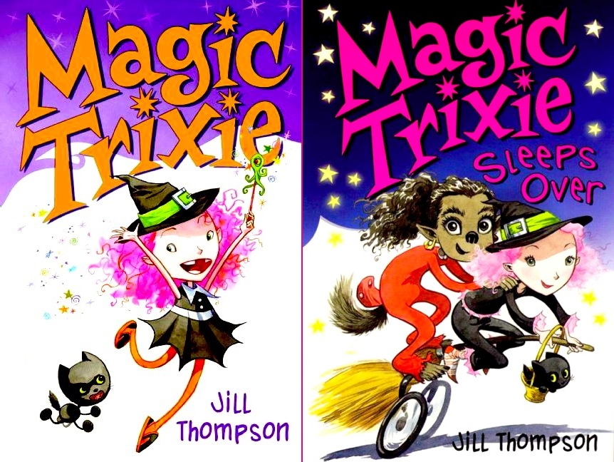 covers to 'Magic Trixie' showing Trixie frolicking, holding a wand, followed by her small black cat, and 'Magic Trixie Sleeps Over', showing Trixie riding her magic-broom bicycle, Stitches the cat in a handbasket, with Loupie Garou the werewolf girl holding on behind her