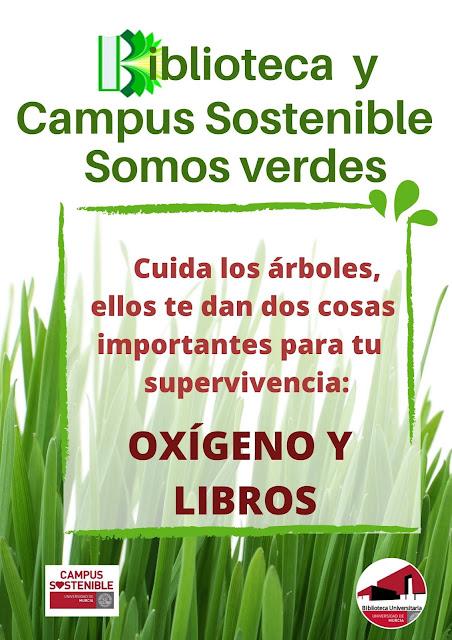"""La BUMU colabora con el  UMU_Sostenible. Pasa por el kiosco y llévate """"Un libro y una planta"""""""