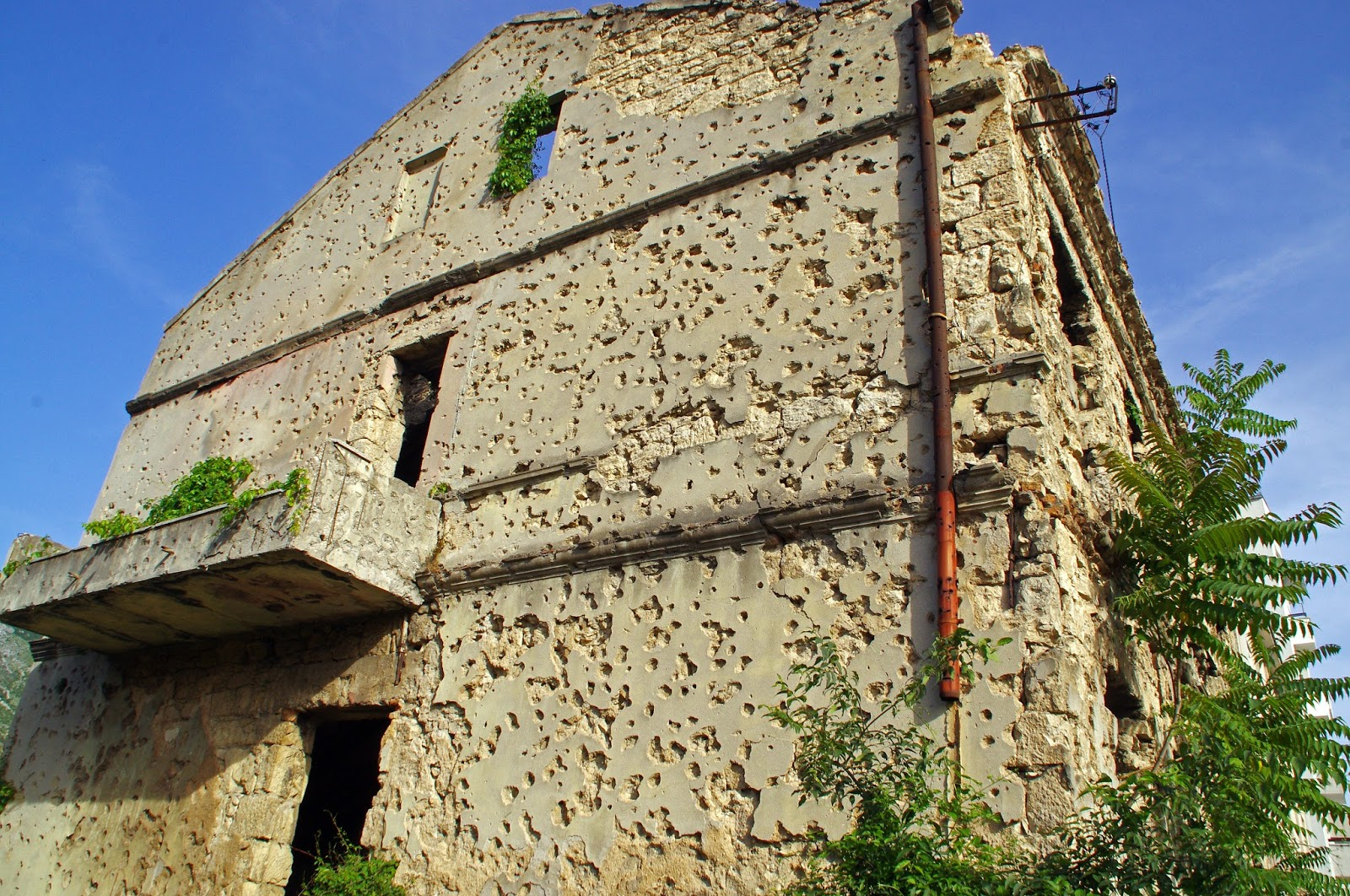 Bullet damaged buildings in Mostar