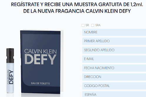 muestras gratis Calvin Klein Defy