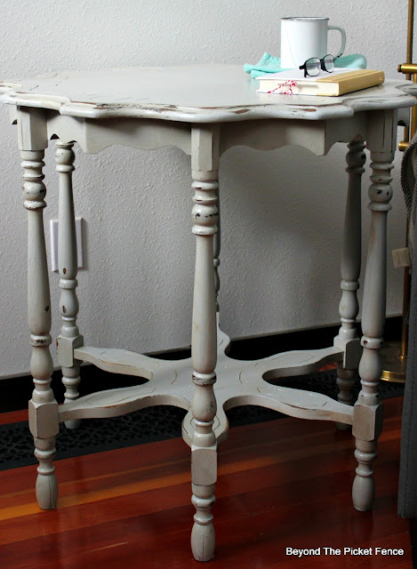 vintage lamp table painted with latex paint