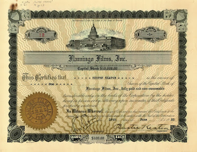 Flamingo Films stock certificate signed by Buster Keaton