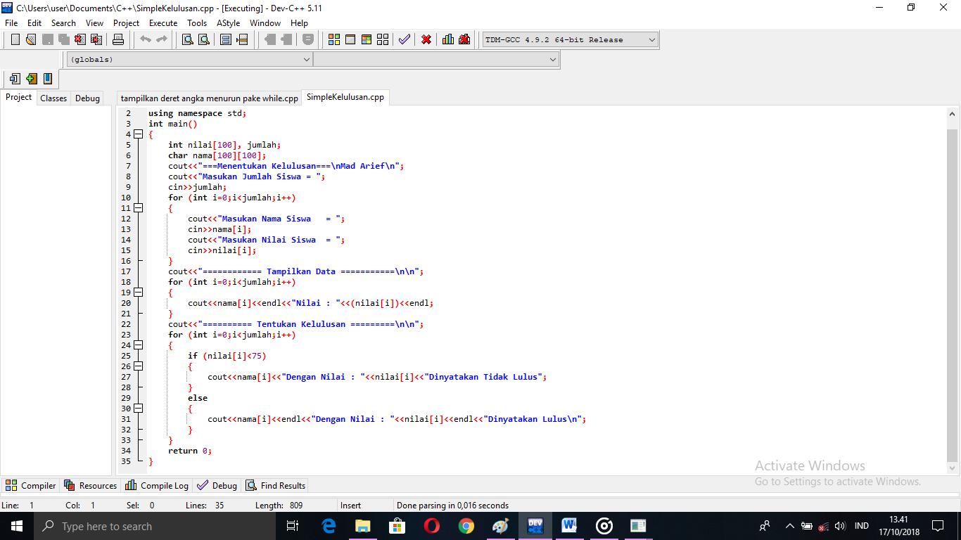 codingmaniak.blogspot.com%2Bprogram%2Bmenentukan%2Bkelulusan%2B%2Bmenggunakan%2BC%252B%252B3 - Tutorial C++ | 5 Pola Agenda Sederhana Memakai Pengulangan For