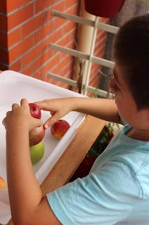 Torre de 3 maçãs e criança a amparar a torre