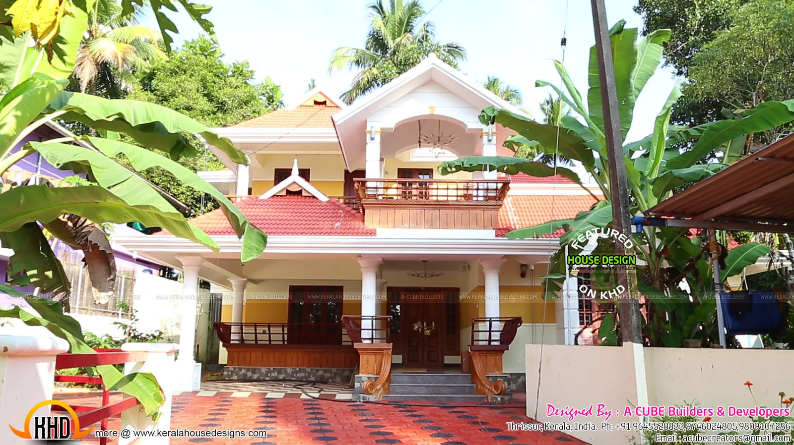 Interior and exterior photographs of a finished house Kerala style house exterior designs