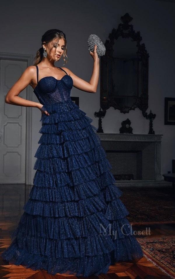 vestido de festa longo azul marinho de tule glitter