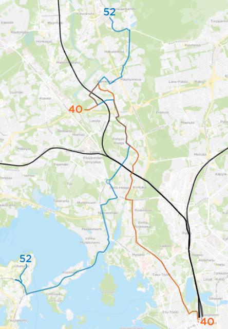 Linjan 40 reitti on Elielinaukio–Mannerheimintie–Ruskeasuo–Etelä-Haaga–Pohjois-Haaga–Kannelmäen asema–Pelimannintie ja linjan 52 reitti on Kuninkaantammi–Hakuninmaa–Kannelmäki–Pohjois-Haaga–Huopalahden asema–Munkkivuori–Munkkiniemi–Otaniemi.