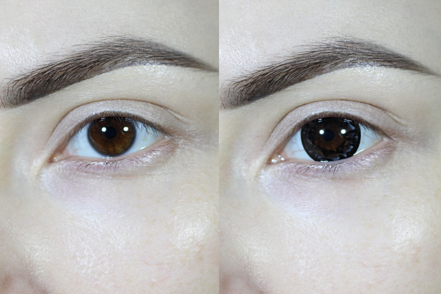 eye enlarging black diamond circle lenses before and after demonstration
