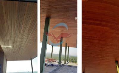 Plafon kayu di Gunung pelawan Lestari, Bangka