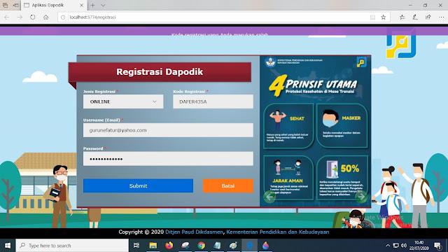 Cara Daftar Online Dapodik 2021