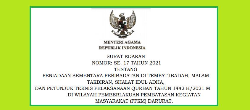 Surat Edaran Menteri Agama SE Menag Nomor  17 Tahun 2021