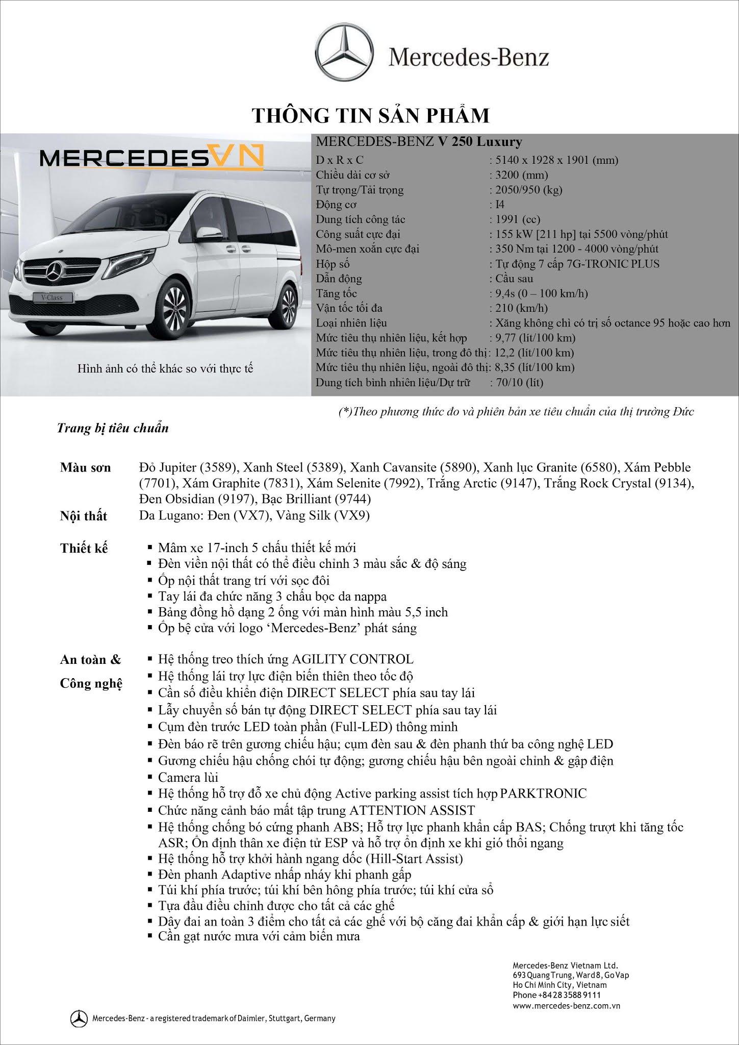 Bảng thông số kỹ thuật Mercedes V250 Luxury 2021
