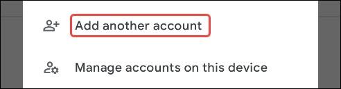 حدد إضافة حساب آخر