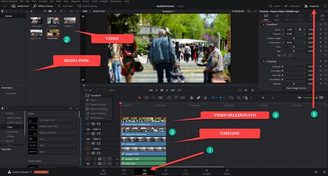 davinci resolve interfaccia
