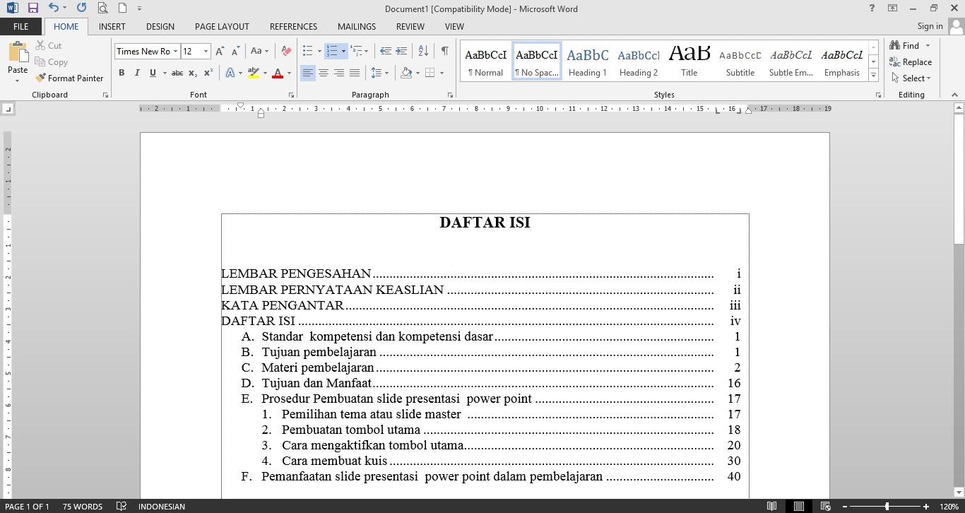 Daftar isi menggunakan Tabulasi