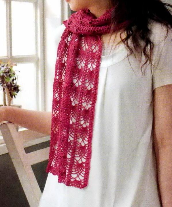 Crochet Lace Scarf, Pineapple Stitch