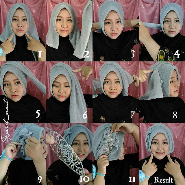 16 Tutorial Hijab Segi Empat Pesta Sederhana Modern Elegan