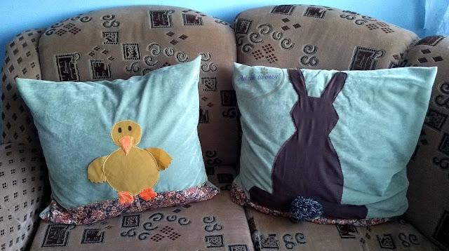DIY poszewki wielkanocne na poduszki jak uszyć  - Adzik tworzy