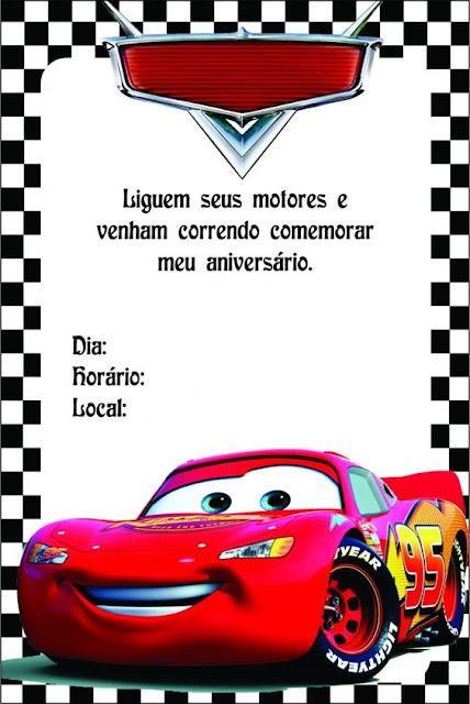 Convite  Festa Carros da Disney