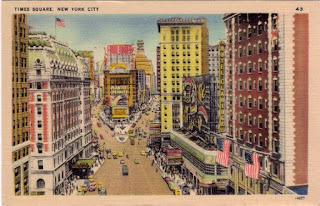 vintage postcard of Times Square in New York City