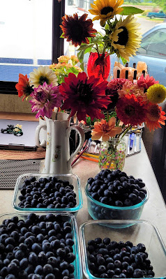 Our pick for today lots of blueberries and flowers
