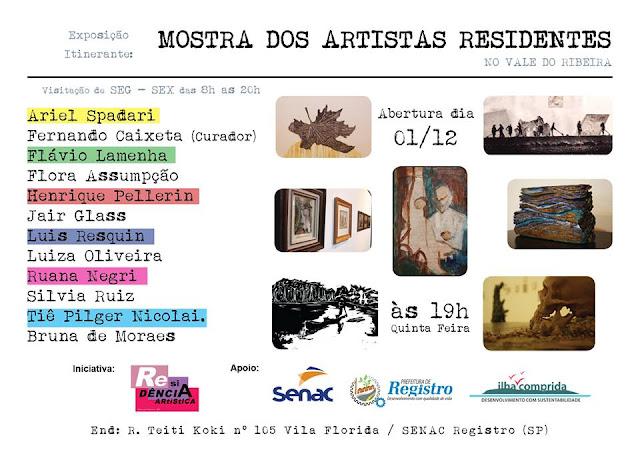 Realizada pela Ilha e Universidade Belas Artes de SP, Mostra  Residência Artística compõe programação do SENAC, em Registro-SP