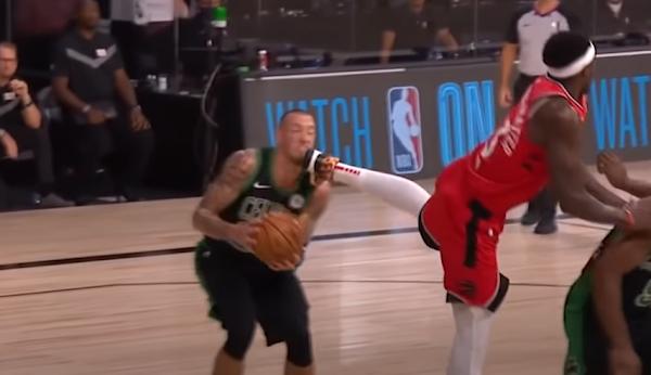 Pascal Siakam accidentally kicks Daniel Theis in face, Raptors vs Celtics Game 5