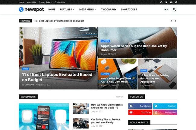Newspot Blogger Template Premium Free Download