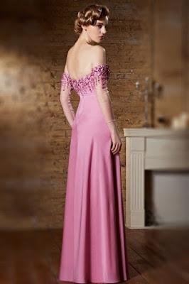 robe de soirée rose longue dos nu avec manche