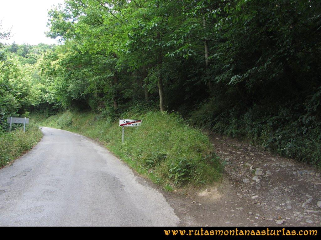 Ruta Cangas - Acebo: Saliendo a Cangas por el camino que baja de Curriellos