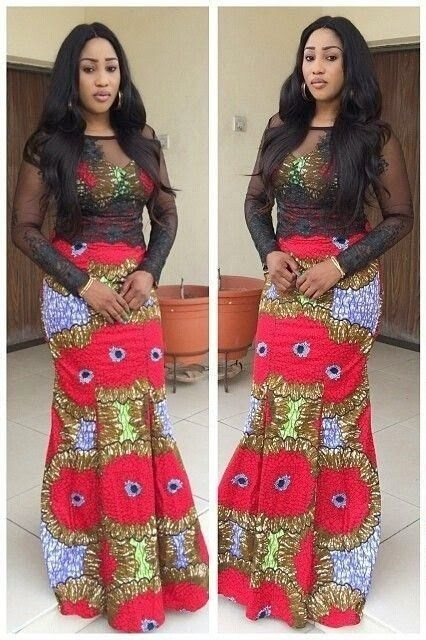 Pictures of Mixed Ankara and Lace Gown style