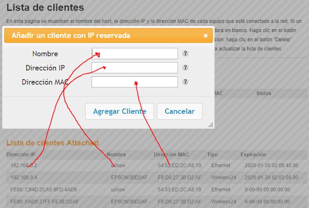Añadir cliente con ip reservada