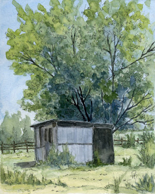 pen watercolor line wash rural abandoned tree chicken coop