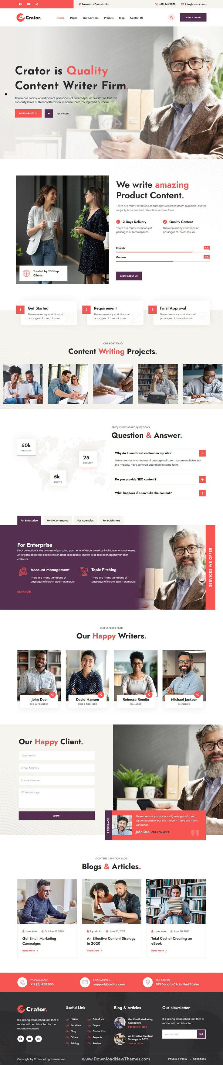 Content Writer WordPress Theme