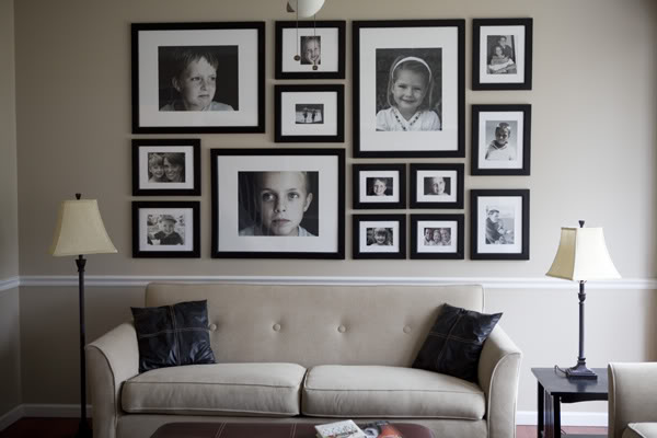 Change of scenery a how to for photo arrangements - Wall collage ideas living room ...