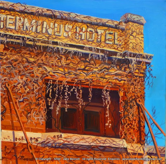 oil painting of Terminus Hotel in Pyrmont  by Jane Bennett